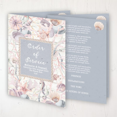 Shoreline Treasure Wedding Order of Service - Booklet Personalised Front & Inside Pages
