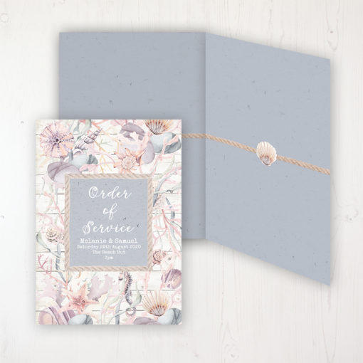 Shoreline Treasure Wedding Order of Service - DIY Cover Personalised Cover with Patterned Inside