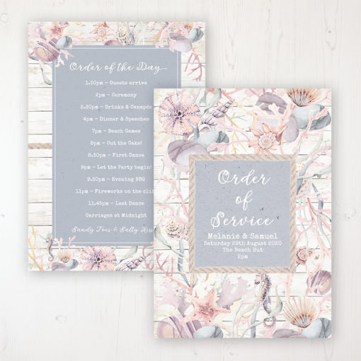 Shoreline Treasure Wedding Order of Service - Card Personalised front and back