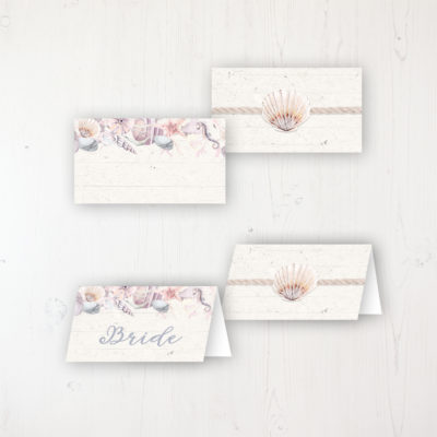 Shoreline Treasure Wedding Place Name Cards Blank and Personalised with Flat or Folded Option