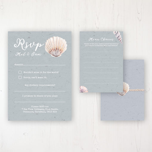 Shoreline Treasure Wedding RSVP Personalised Front & Back with Rustic Envelope