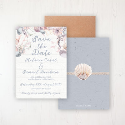 Shoreline Treasure Wedding Save the Date Personalised Front & Back with Rustic Envelope