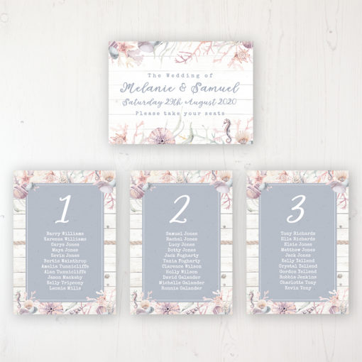 Shoreline Treasure Wedding Table Plan Cards Personalised with Table Names and Guest Names