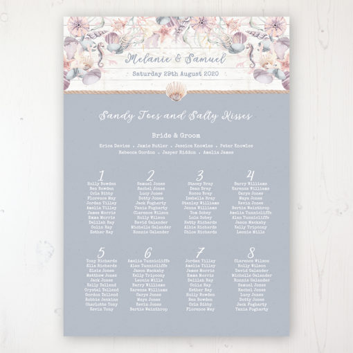 Shoreline Treasure Wedding Table Plan Poster Personalised with Table and Guest Names