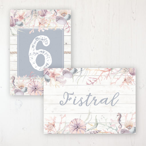 Shoreline Treasure Wedding Table Name & Number Personalised Table Name Card and Number Card