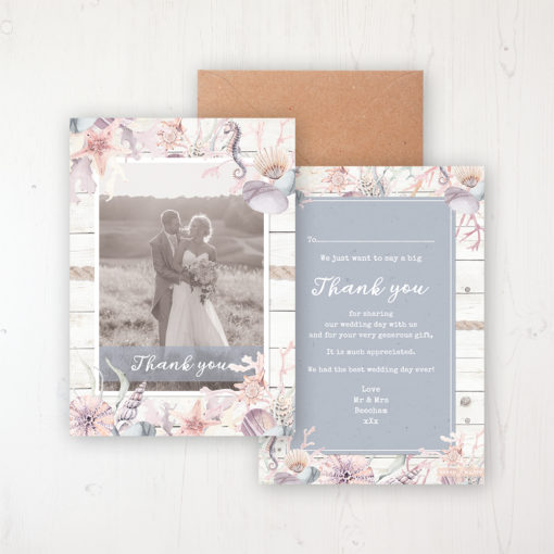 Shoreline Treasure Wedding Thank You Card - Flat Personalised with a Message & Photo