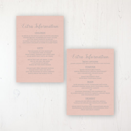 Summer Afternoon Wedding Info Insert Card Personalised Front & Back