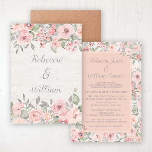 Summer Afternoon Wedding Invitation - Flat Personalised Front & Back with Rustic Envelope