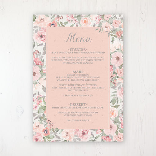 Summer Afternoon Wedding Menu Card Personalised to display on tables
