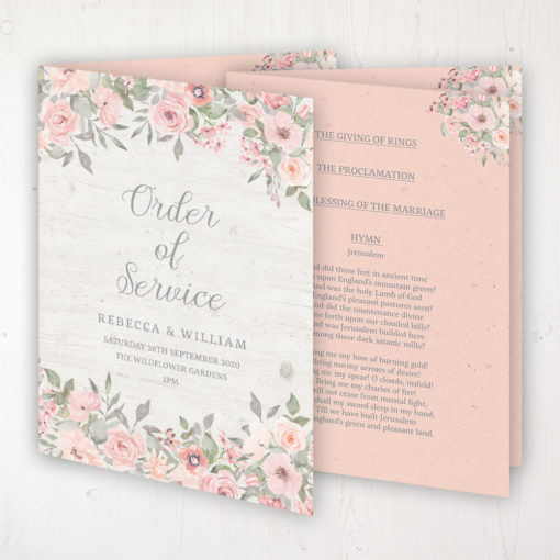 Summer Afternoon Wedding Order of Service - Booklet Personalised Front & Inside Pages