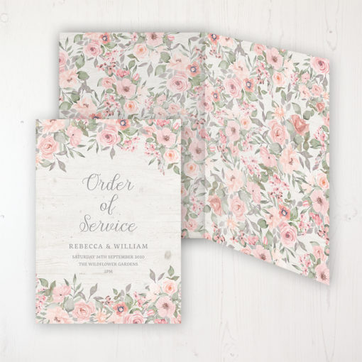 Summer Afternoon Wedding Order of Service - DIY Cover Personalised Cover with Patterned Inside