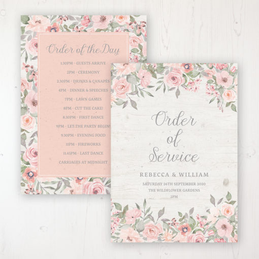 Summer Afternoon Wedding Order of Service - Card Personalised front and back