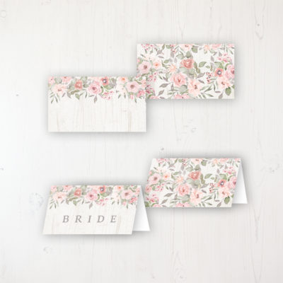 Summer Afternoon Wedding Place Name Cards Blank and Personalised with Flat or Folded Option