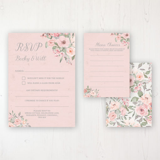 Summer Afternoon Wedding RSVP Personalised Front & Back with Rustic Envelope