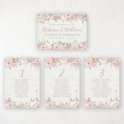 Summer Afternoon Wedding Table Plan Cards Personalised with Table Names and Guest Names