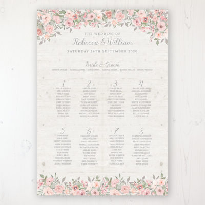 Summer Afternoon Wedding Table Plan Poster Personalised with Table and Guest Names