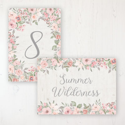 Summer Afternoon Wedding Table Name & Number Personalised Table Name Card and Number Card