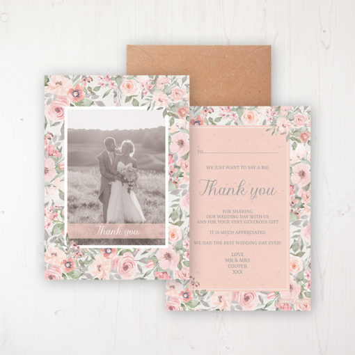 Summer Afternoon Wedding Thank You Card - Flat Personalised with a Message & Photo