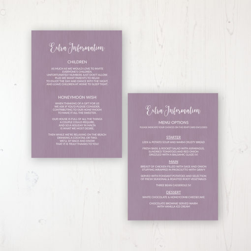 Wild Lavender Wedding Info Insert Card Personalised Front & Back