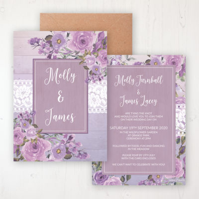 Wild Lavender Wedding Invitation - Flat Personalised Front & Back with Rustic Envelope