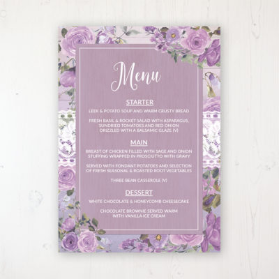 Wild Lavender Wedding Menu Card Personalised to display on tables