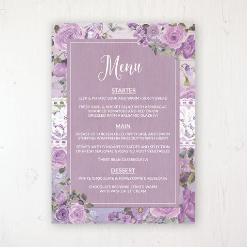 Wild Lavender Wedding Menu Card Personalised to display on tables