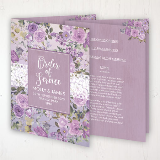 Wild Lavender Wedding Order of Service - Booklet Personalised Front & Inside Pages