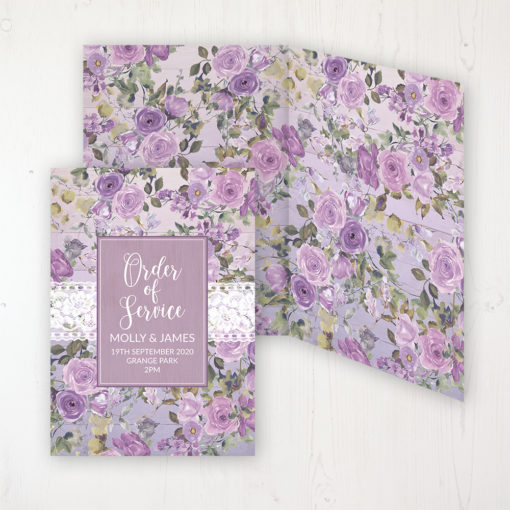 Wild Lavender Wedding Order of Service - DIY Cover Personalised Cover with Patterned Inside
