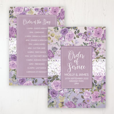 Wild Lavender Wedding Order of Service - Card Personalised front and back