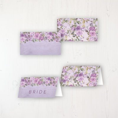 Wild Lavender Wedding Place Name Cards Blank and Personalised with Flat or Folded Option