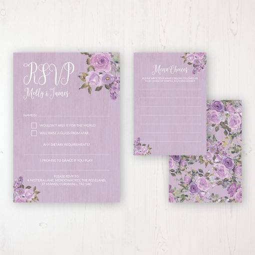 Wild Lavender Wedding RSVP Personalised Front & Back with Rustic Envelope