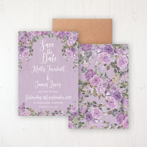 Wild Lavender Wedding Save the Date Personalised Front & Back with Rustic Envelope