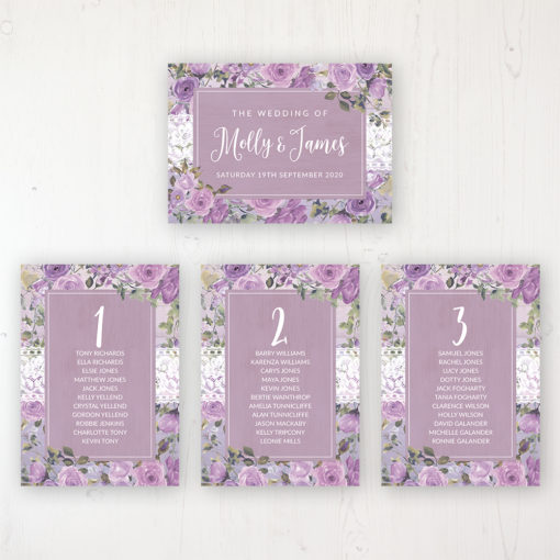 Wild Lavender Wedding Table Plan Cards Personalised with Table Names and Guest Names