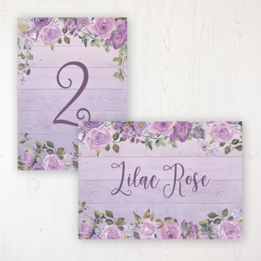 Wild Lavender Wedding Table Name & Number Personalised Table Name Card and Number Card