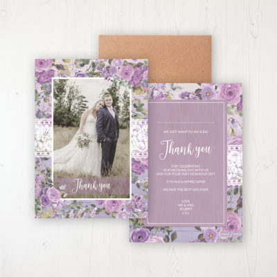 Wild Lavender Wedding Thank You Card - Flat Personalised with a Message & Photo