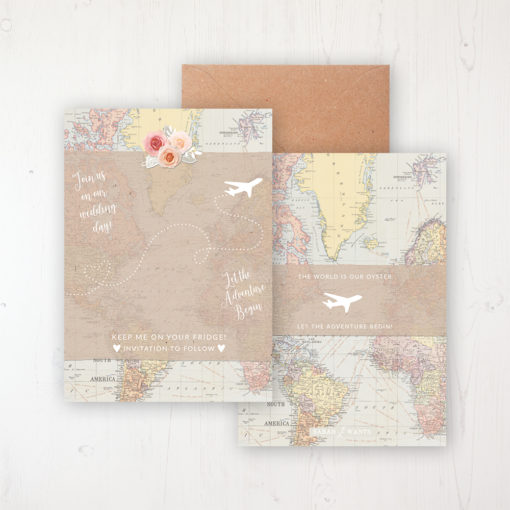 Adventure Save the Date Backing Card Front & Back with Kraft Envelope