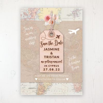 Adventure Backing Card with Wooden Save the Date Luggage Tag Magnet