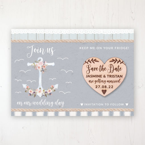 Anchored in Love Backing Card with Wooden Save the Date Heart Magnet