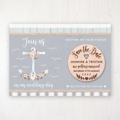 Anchored in Love Backing Card with Wooden Save the Date Round Magnet