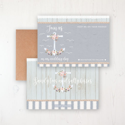 Anchored in Love Save the Date Backing Card Front & Back with Kraft Envelope