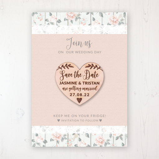 Apricot Sunrise Backing Card with Wooden Save the Date Heart Magnet