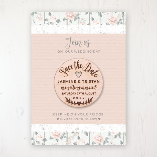 Apricot Sunrise Backing Card with Wooden Save the Date Round Magnet