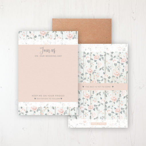 Apricot Sunrise Save the Date Backing Card Front & Back with Kraft Envelope