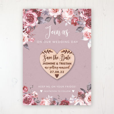 Bordeaux Vineyard Backing Card with Wooden Save the Date Heart Magnet