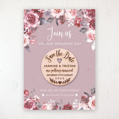 Bordeaux Vineyard Backing Card with Wooden Save the Date Round Magnet