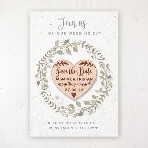 Botanical Garden Backing Card with Wooden Save the Date Heart Magnet