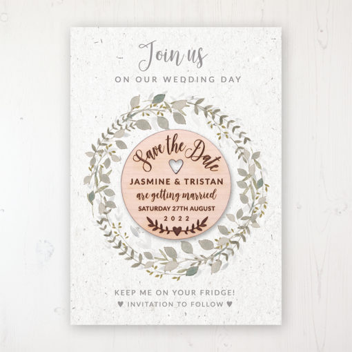 Botanical Garden Backing Card with Wooden Save the Date Round Magnet