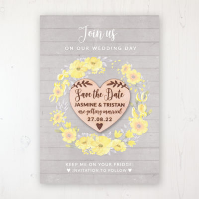 Buttercup Flutter Backing Card with Wooden Save the Date Heart Magnet