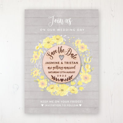 Buttercup Flutter Backing Card with Wooden Save the Date Round Magnet