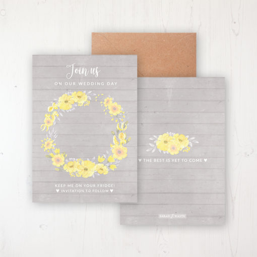 Buttercup Flutter Save the Date Backing Card Front & Back with Kraft Envelope